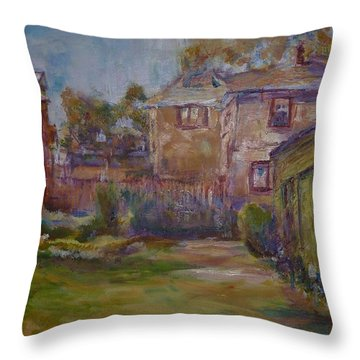 Backyard Impressions Throw Pillow by Helen Campbell