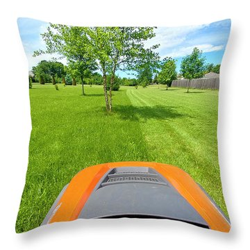 Throw Pillow featuring the photograph Backyard Mowing by Ricky L Jones