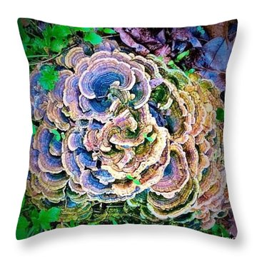 Backyard Mushroom  Throw Pillow