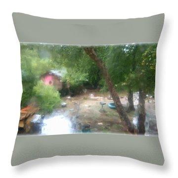 Backyard Rain Throw Pillow