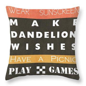 Backyard Rules Throw Pillow
