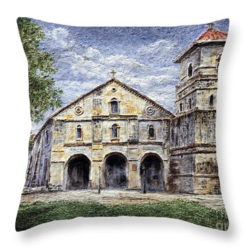 Throw Pillow featuring the painting Baclayon Church by Joey Agbayani