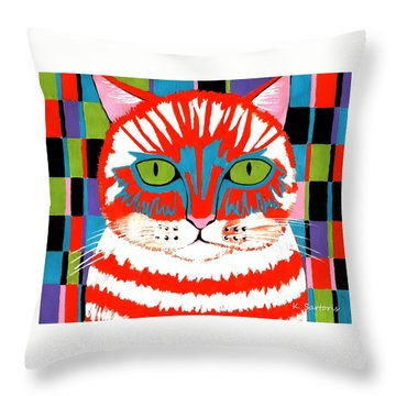Bad Cattitude - Contemporary Cat Art Throw Pillow