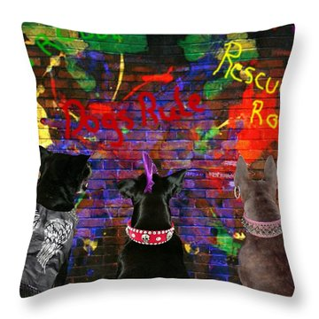 Bad Dogs Throw Pillow