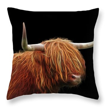 Bad Hair Day - Highland Cow - On Black Throw Pillow