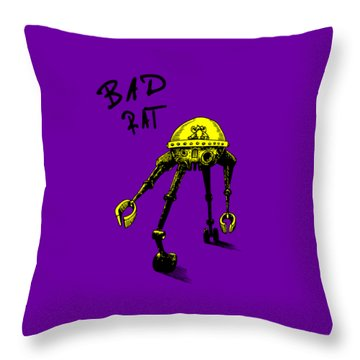 Bad Rat In Retro Yellow Throw Pillow