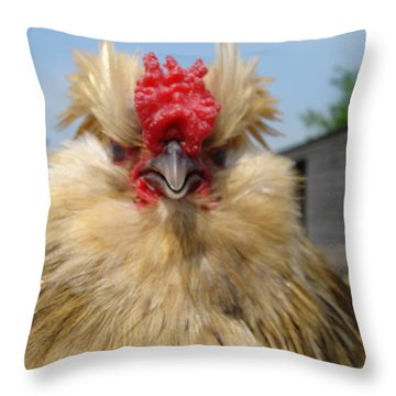Bad Tempered Bearded Bantam Throw Pillow