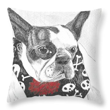 Throw Pillow featuring the drawing Bad To The Bone by Arlene Crafton