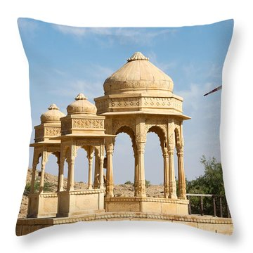 Throw Pillow featuring the photograph Bada Bagh And Windmill by Yew Kwang