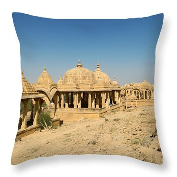 Throw Pillow featuring the photograph Bada Bagh Of Jaisalmer by Yew Kwang
