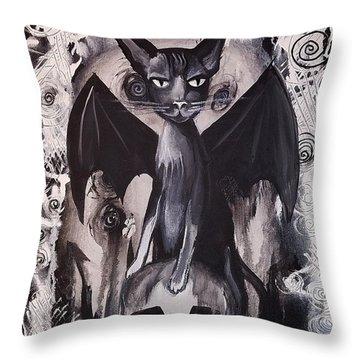 Badkitty Throw Pillow