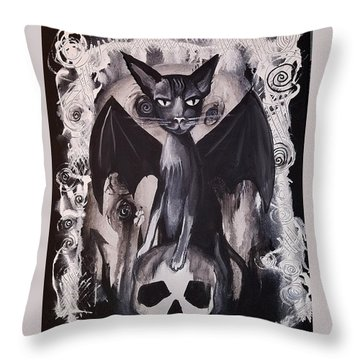 Badkitty Throw Pillow