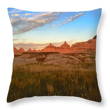 Badlands Evening Glow Throw Pillow