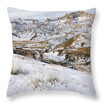 Badlands In Snow Throw Pillow