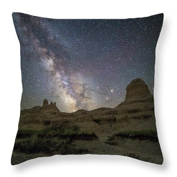Badlands Milky Way Happy Astronomy Day Throw Pillow