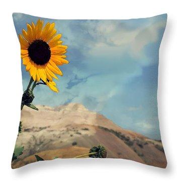 Badlands Of South Dakota Yellow Flower Throw Pillow