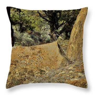 Throw Pillow featuring the photograph Badlands Wilderness Rock Carving by Michele Penner