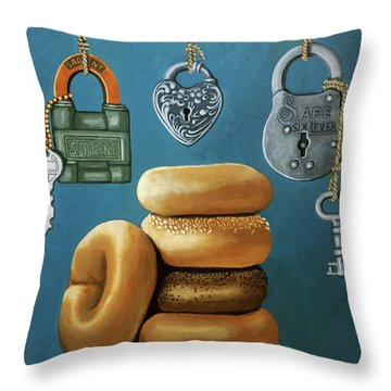 Bagels And Locks Throw Pillow