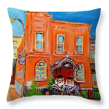 Bagg Street Synagogue Sabbath Throw Pillow by Carole Spandau