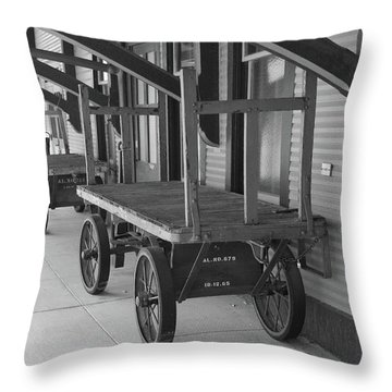Baggage Carts Bw Throw Pillow