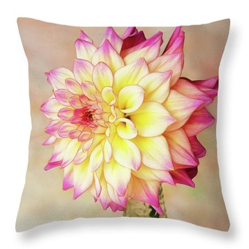 Throw Pillow featuring the photograph Bahama Mama Dahlia by Mary Jo Allen