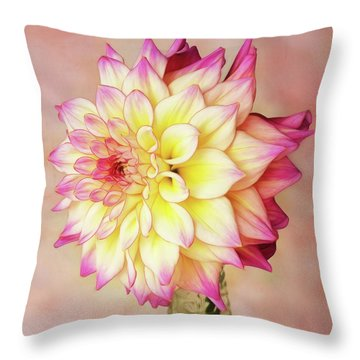 Throw Pillow featuring the photograph Bahama Mama Dahlia Square by Mary Jo Allen