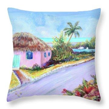 Bahamian Island Shack Throw Pillow