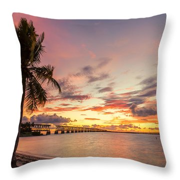 Bahia Honda State Park Sunset Throw Pillow
