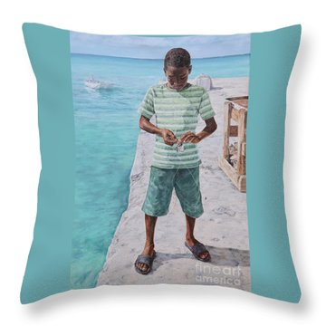 Baiting Up Throw Pillow