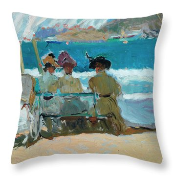 Under The Awnings, San Sebastian Throw Pillow