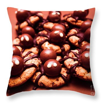 Baked Halloween Spider Cookies Throw Pillow