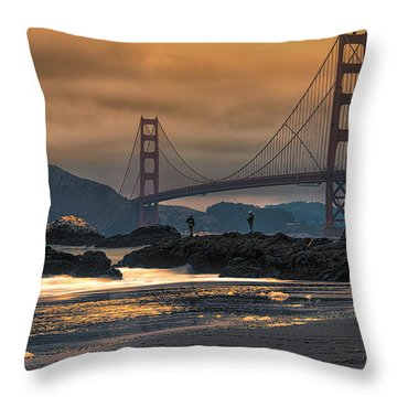 Baker Beach Golden Gate Throw Pillow
