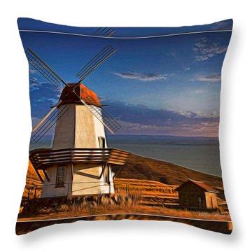 Baker City Windmill_1a Throw Pillow