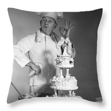 Baker Making Ok Sign, C. 1960s Throw Pillow