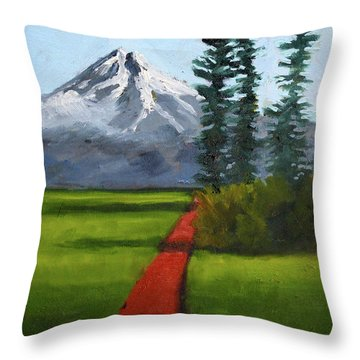 Throw Pillow featuring the painting Baker Meadow by Nancy Merkle