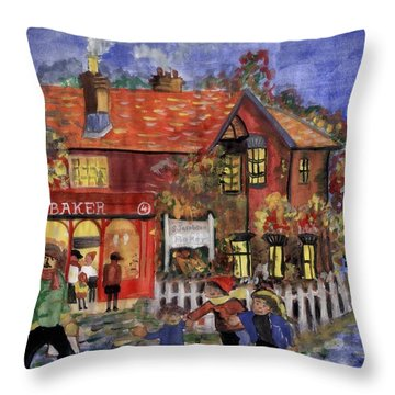 Bakers Inn Winter Holiday Landscape Throw Pillow