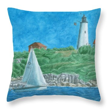 Bakers Island Lighthouse Throw Pillow by Dominic White