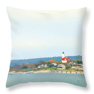 Bakers Island Lighthouse Throw Pillow