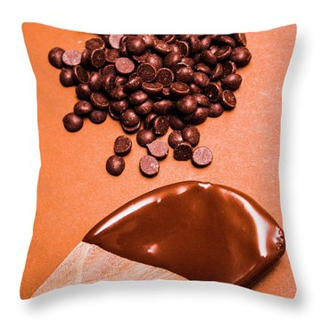 Baking Scene Of Spoon Covered With Chocolate Throw Pillow