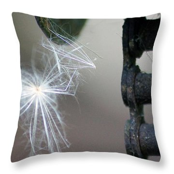 Balance, Feather And Iron Chain In The Wind Throw Pillow