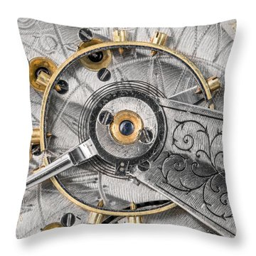 Balance Wheel Of An Antique Pocketwatch Throw Pillow by Jim Hughes