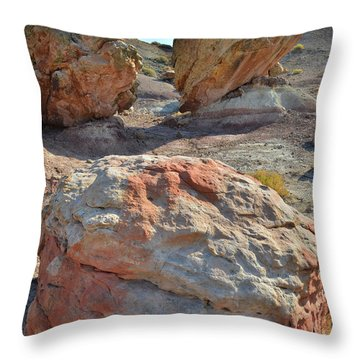 Throw Pillow featuring the photograph Balanced Boulders In Bentonite Site by Ray Mathis