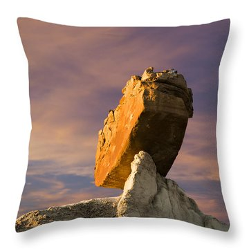 Balanced Bus Rock At The Burnham Badlands Throw Pillow