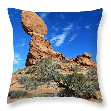 Balanced Rock And Desert Tree Throw Pillow