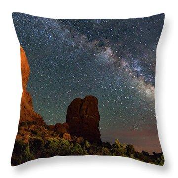 Balanced Rock And Milky Way Throw Pillow