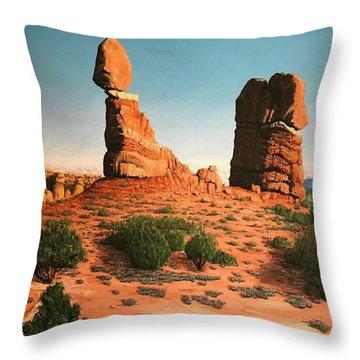 Balanced Rock At Arches National Park Throw Pillow