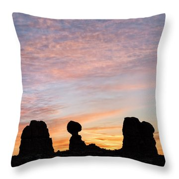Balanced Rock At Sunrise Throw Pillow