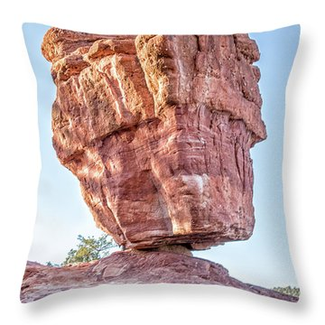 Balanced Rock In Garden Of The Gods, Colorado Springs Throw Pillow by Peter Ciro