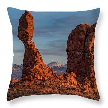 Balanced Rock Sunset Throw Pillow