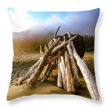 Throw Pillow featuring the photograph Balancing Act Beach Image Art by Jo Ann Tomaselli